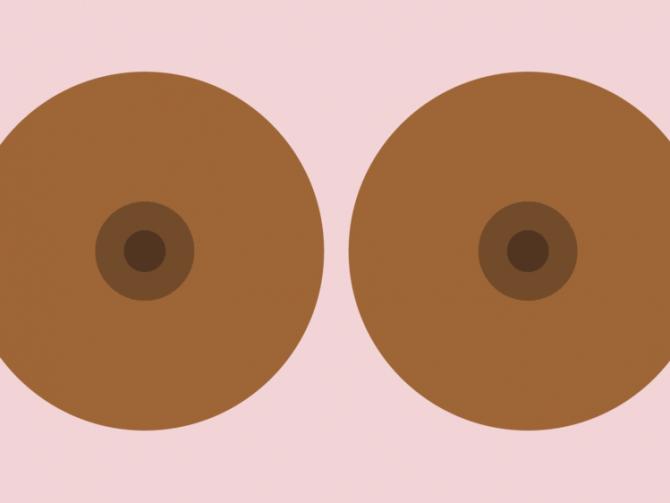 Женская грудь большой сосок